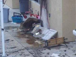 Damage at La Jolla Children's Learning Lab in Sorrento Valley