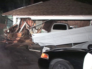 La Mesa garage crash scene