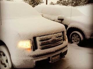 Snowy truck in Warner Springs