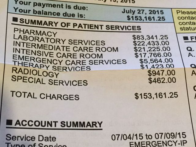 Hospital Bill after Rattlesnake bite