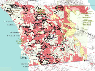 County map shows fire threat level by region
