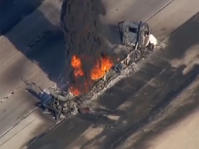 Gas tanker catches fire, shuts down I-15