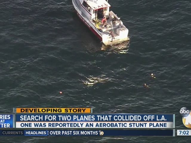 Ocean search begins after 2 planes collide near Los Angeles