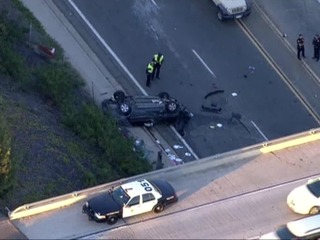 Car flies off 905 freeway in South Bay