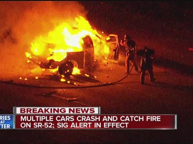 Fiery 4-vehicle wreck shuts down SR-52