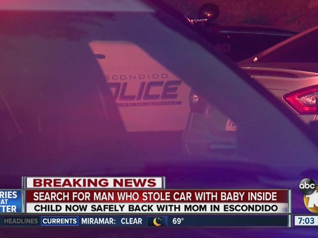 Search for man who stole car with baby inside