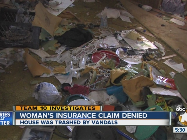 Team 10: Woman's insurance claim denied after it was trashed by vandals