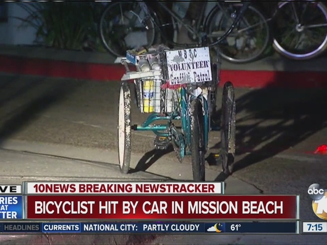 Bicyclist hit by car in Mission Beach
