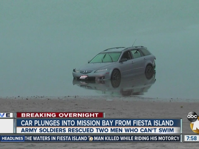 Car plunges into Mission Bay from Fiesta Island