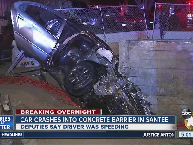 Car crashes into concrete barrier in Santee