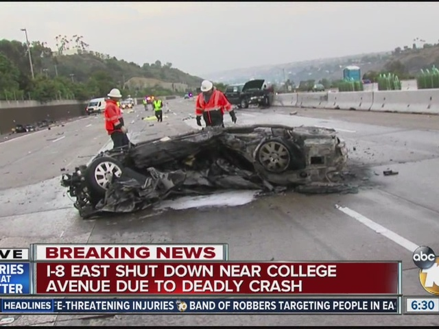 Fatal crash shuts down I-8 East at College Avenue