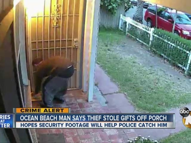 Ocean Beach man says thief stole gifts off porch