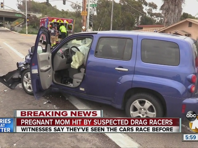 Pregnant woman hit by suspected drag racers