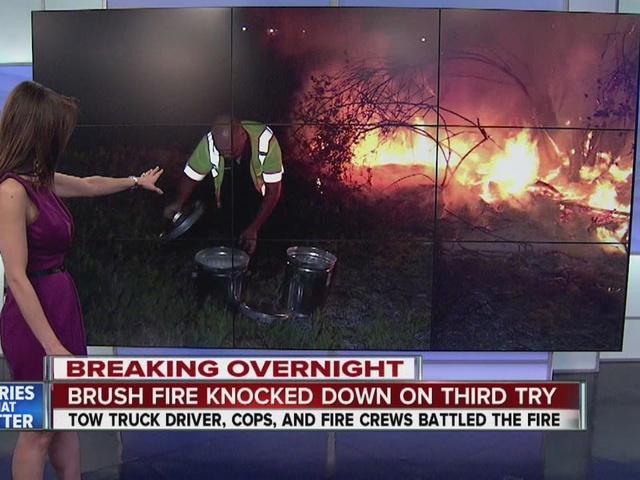 Stubborn brush fire breaks out along SR-94