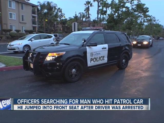 Driver slams into police car in La Mesa, escapes