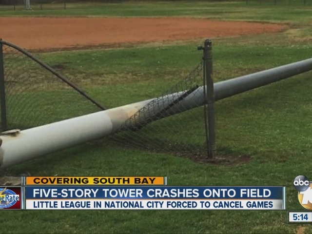 Five-story tower crashes onto baseball field