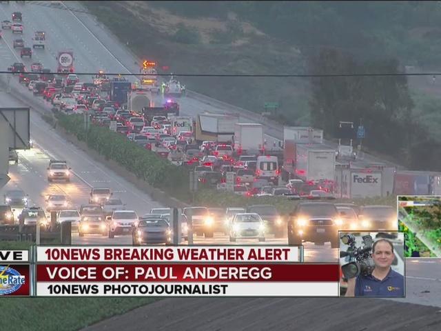 Drenching rain shuts down major San Diego freeways