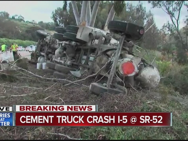 Cement truck overturns on I-5 in La Jolla