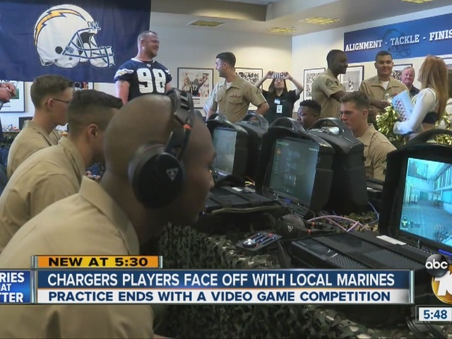 Chargers players face off with local Marines