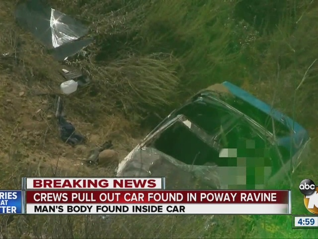 Crews pull out car found in Poway ravine
