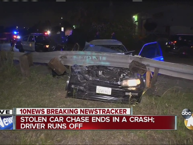 Breaking at 11: Stolen car chase ends in crash; driver runs off