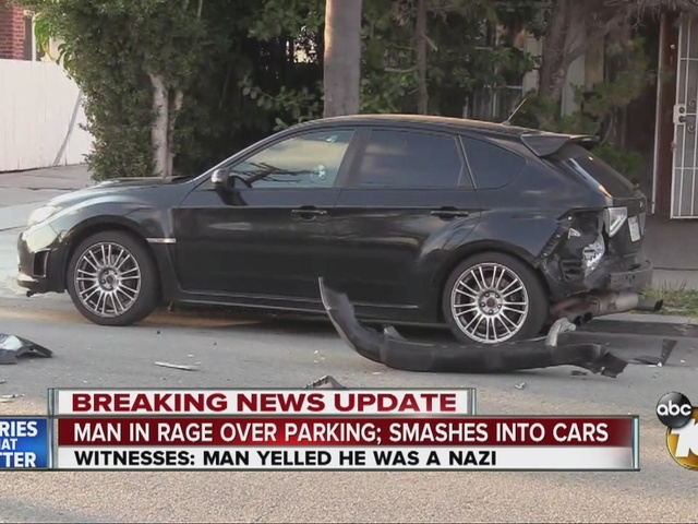 Man in rage over parking smashes into cars
