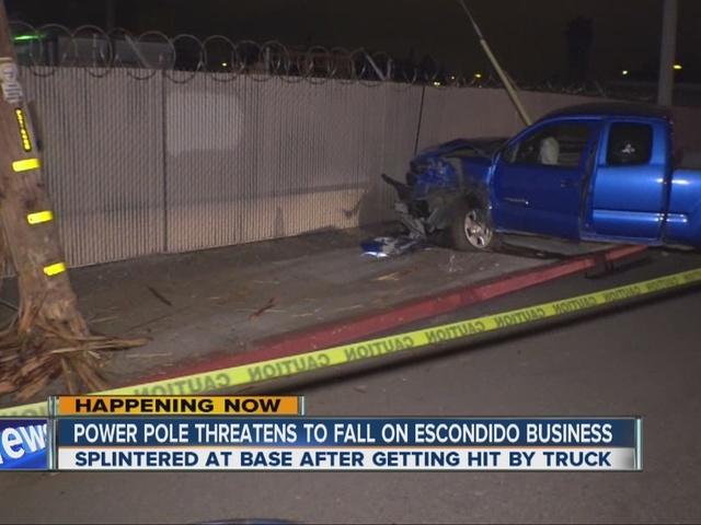 Hit-run truck sheers power pole in Escondido