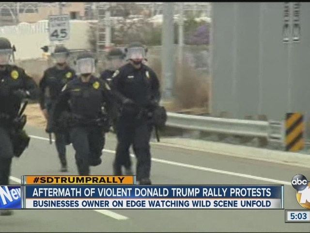 Aftermath of violent Donald Trump rally protests