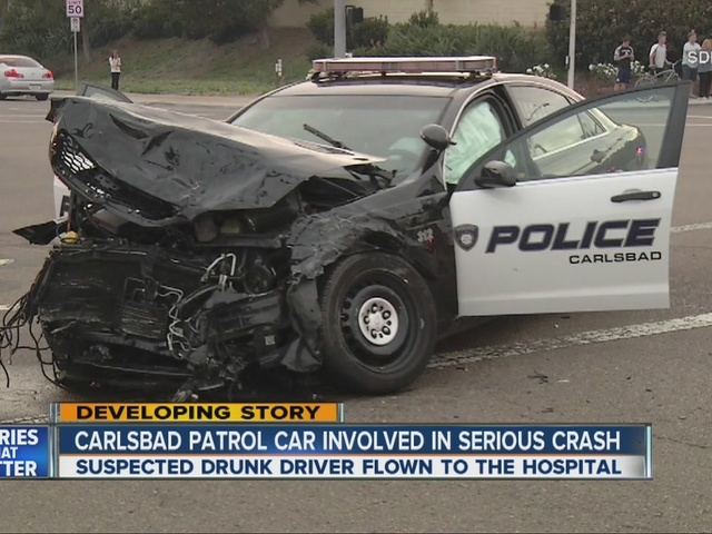 Carlsbad patrol car involved in violent collision with pickup, 4 hurt