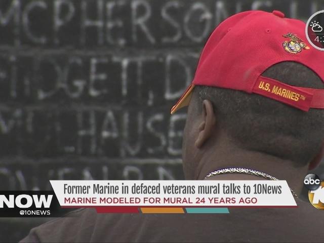 Marine in defaced veterans mural talks to 10News