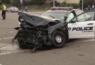 Patrol car involved in violent collision, 4 hurt