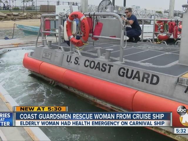 Coast Guardsmen rescue elderly woman from cruise ship off San Diego