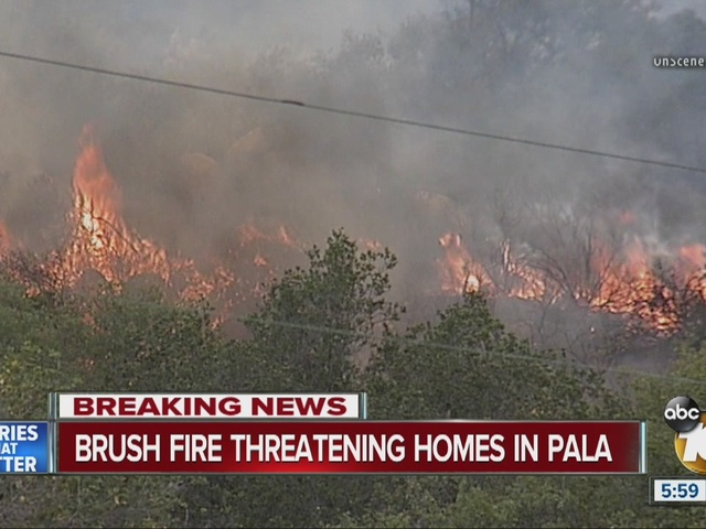 Crews fight Pala brush fire from the ground, air