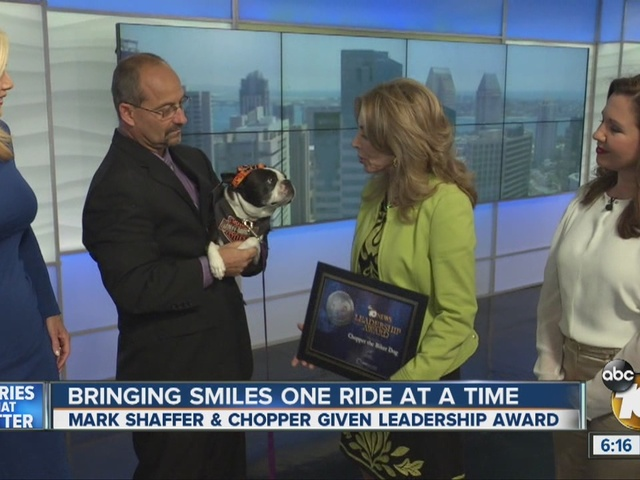 10News Leadership Award Recipients Mark Shaffer and Chopper the Biker Dog