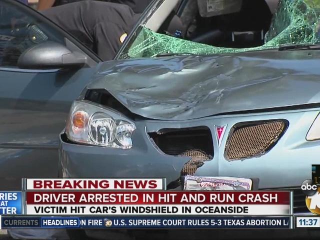 After Oceanside crash, victim wedged in windshield of moving car