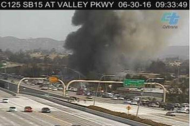Massive blaze burning off I-15 in Escondido