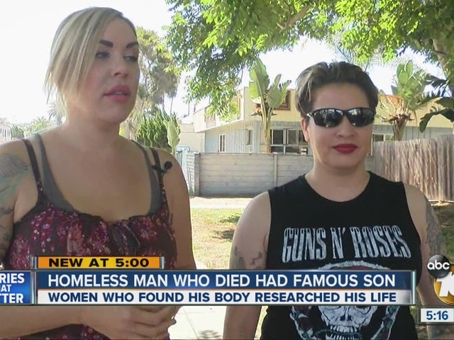 Homeless man who died had famous son
