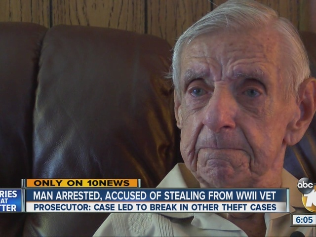 Man arrested, accused of stealing from WWII vet