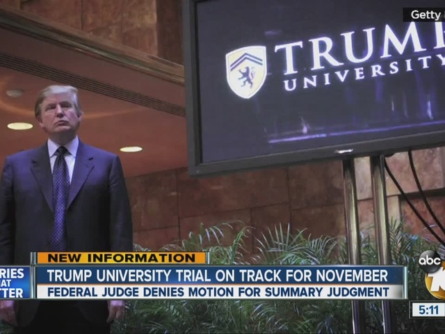 Trump University trial on track for November