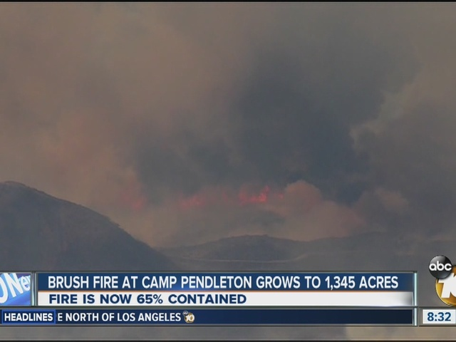 Brush fire at Camp Pendleton grows to 1,345 acres