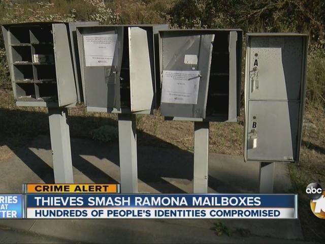 Thieves smash Ramona mailboxes