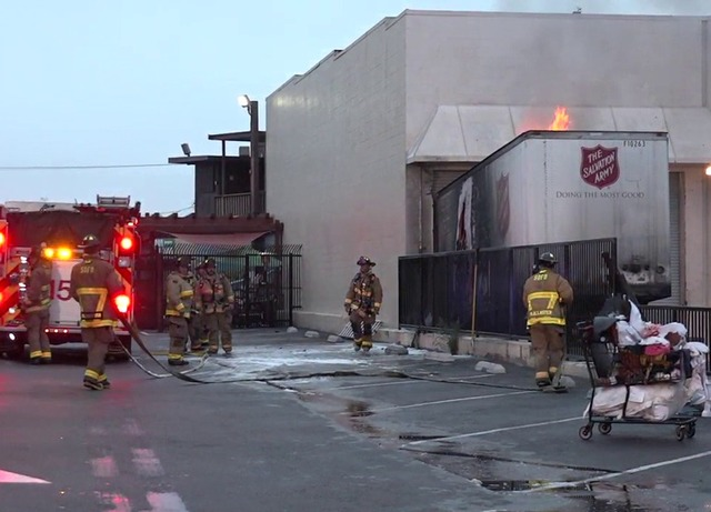 Trailer set ablaze outside Midway Salvation Army