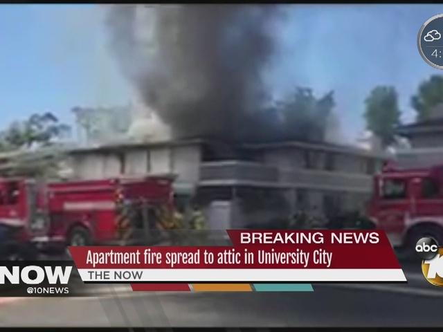 Condo fire spread to attic in University City