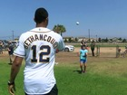 Padres players coach kids at Camp Pendleton