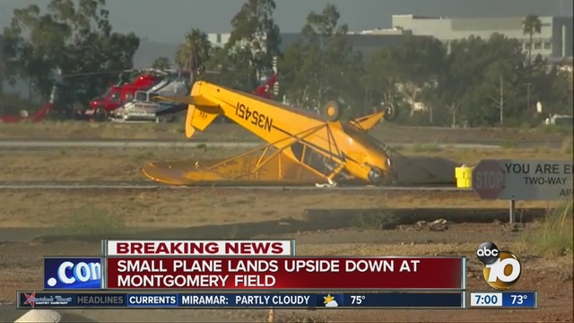 Small Plane Lands Upside Down At Montgomery Field 10news