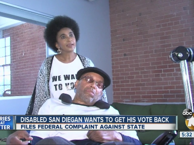 Disabled San Diegan wants to get his vote back