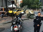 3 hurt after taxi jumps curb in downtown SF