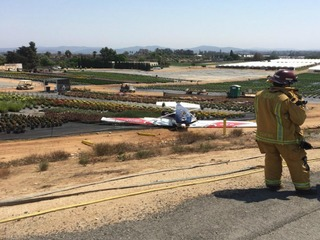 Plane crash lands, flips at Fallbrook airport