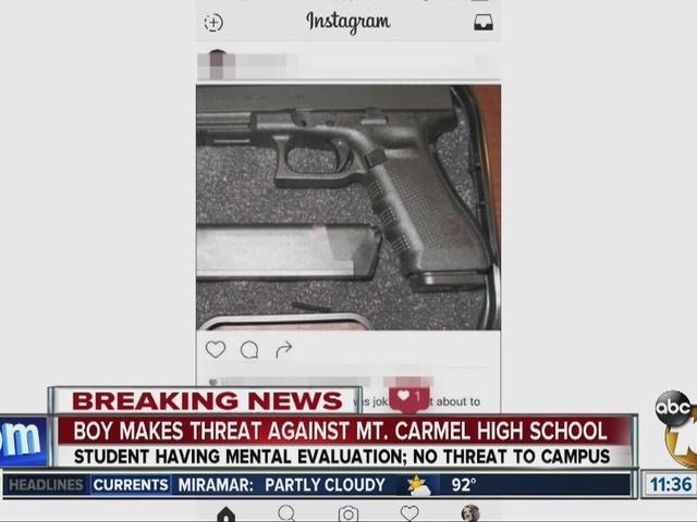 SDPD investigating social media threat against Mt. Carmel High