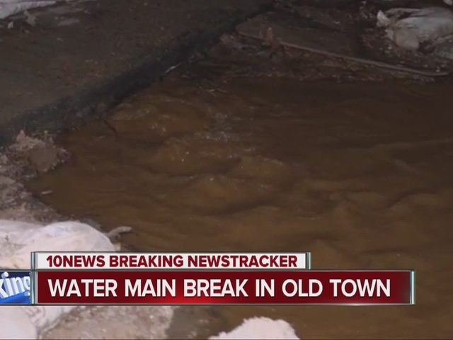 Water main break floods Old Town intersection